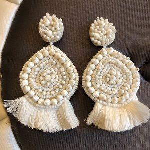 White Beaded Statement Earrings